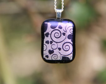 Purple hearts dichroic glass pendant, dichroic glass necklace, shimmer pendant,  fused glass pendant, dichroic heart necklace , dichroic,
