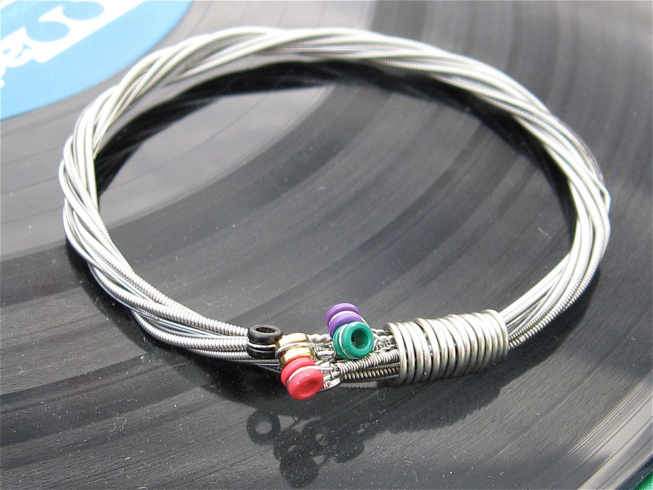 Electric Guitar String Bracelet silver colored with colored