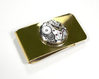 Steampunk Money Clip Vintage Watch Movement Rubies Gold MONEY CLIP Mens Wedding Anniversary Fathers Day  - Steampunk Jewelry by edmdesigns
