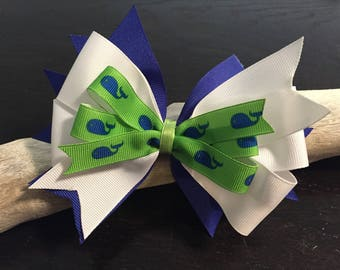 Large Blue, White and Green Whale Girl's Hair Bow - Large Bow, Girls Bows, Summer Bow, Girls Bows, School Bows, Nautical Bows