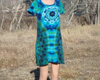 Tie Dye Mandala Cotton Dress Large