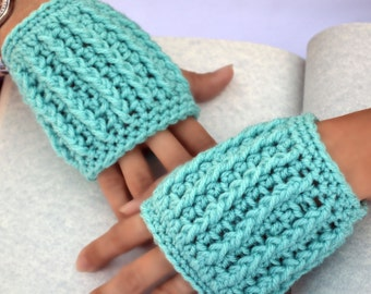 Aqua hand warmers, fingerless gloves, bohemian fashion, texting gloves, crochet gloves, wrist warmers, mittens, womens gloves, winter gloves