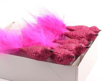 Lot 6 Czech glass clip on bird Christmas tree ornaments bright neon pink glitter SKU 1028