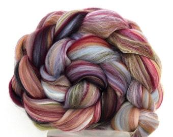 Merino Wool and Silk Combed Top -  100g Felting Fiber Spinning Yarn -  Tapestry