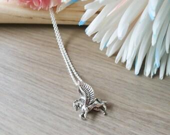 Pegasus collier, argent Sterling, bijoux Pegasus, mythologie grecque, Pégase mythique, Winged cheval, cheval volant, vol Pegasus, conte de fées