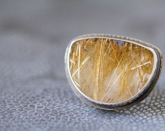 Rutilated Quartz Sterling Silver Ring - Through the Looking Glass - Collector Stone - Size 7.5, Size 7.75