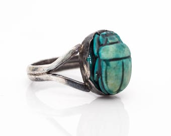 1940s Sterling Silver Turquoise Scarab Beetle Ring, VJ #956