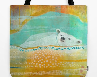 Saturday Market Tote, Polar Bear Bag with Shoulder Straps, Polar Bear Tote