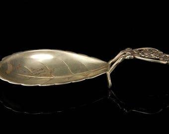 Vintage German 800 Silver Rose Leaf Spoon Rest