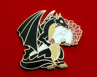 Dragon Pin, Rose Pin, Flower Pin, Hard Enamel Pin, Valentines Pin, Valentine's Pin, Anniversary Pin, Black Dragon, Dragon Button