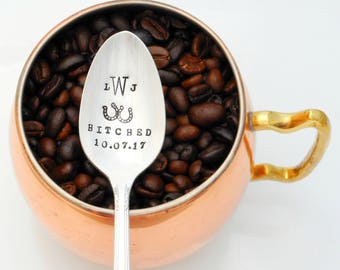 Hitched COFFEE SPOON, PERSONALIZED with Wedding Date and Interlocking Horseshoes with Monogram or Initials. Anniversary Teaspoon Gift.