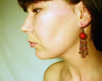 Red Enamel Earrings, Ancient Roman Style Decorate With Beads, Byzantine, Classical Style, With Ornaments