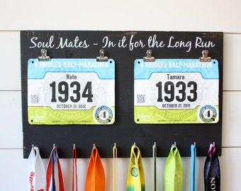 Couple Running Race Bib and Medal Holder - Soul Mates - In it for the Long Run