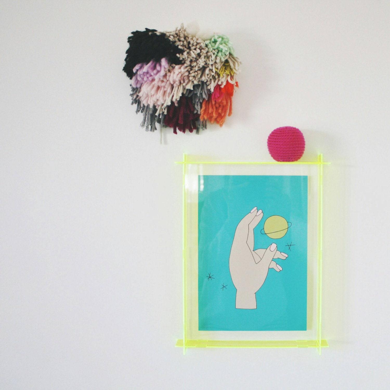 Acryl-Box Frame - Fluro gelb - Neongelb A4 - Plexiglas-Rahmen ...