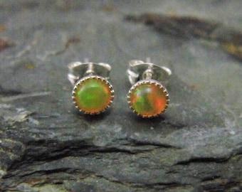 Ethiopian Opal Earrings, Sterling Silver Setting,  Ethiopian Opal Stud Earrings, October Birthstone, Welo Opal, 4mm