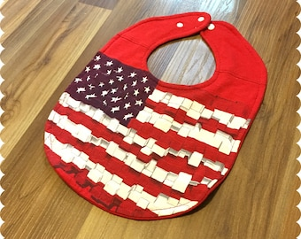 Patriotic American Flag Baby Bib, 4th of July, Recycled T-Shirt Baby Bib, Baby Shower Gift, Baby's First 4th of July