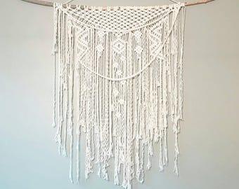 Custom Macrame Curtain- Macrame Wall Hanging~ Bohemian Furniture~ Boho Wall Decor~ Wedding Decor~ White Wall Accent- Bohemian Bedroom Decor