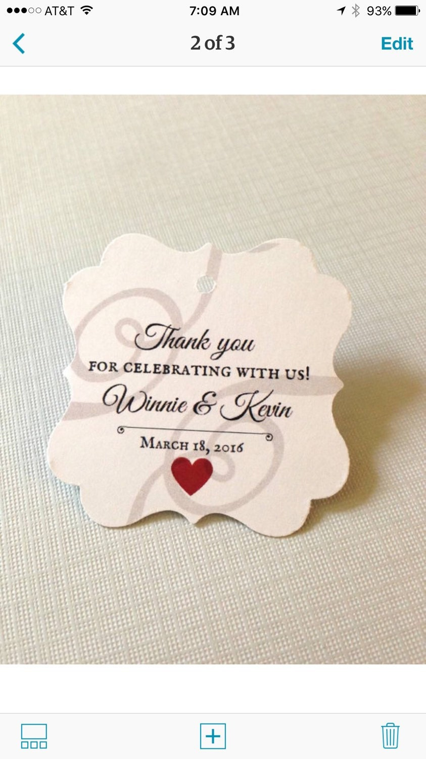 Wedding favor tags, Thank you favor tags, wedding tags, shower tags ...