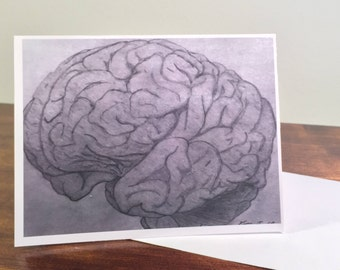 Black and White Brain Greeting Card