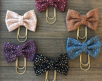 Gold Dot Fabric Bow Planner Clip