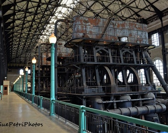 Ward Pumping Station, Photograph, Industrial Decor, Loft Art, Mancave Art, Rustic, Industrial, Historical, Color Photograph, Rustic Chic
