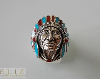 925 Sterling Silver American Indian Cherokee Chief Feather biker goth punk rocker Ring 10'