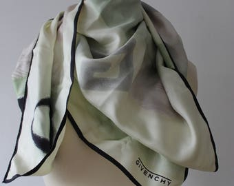 Green, black, beige vintage Givenchy silk scarf