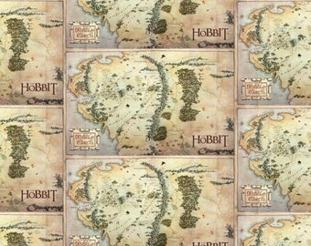 The Hobbit and Lord of the Rings Fabric Map in Tan From Camelot 100% Cotton