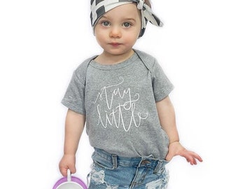 STAY LITTLE - Grey Envelope Top Soft Cotton Tee Shirt - Size 6 months - Hand lettered Tshirt by Dear Seed - DearSeed - Children's Tee