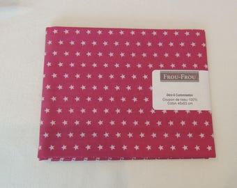 Cotton fabric patch fuschia background star light pink