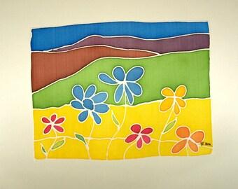 Kostenloser Versand Seide - Original Malerei - Landschaft mit Blumen - 8,6 x 6,7 Zoll (22 x 17 cm)