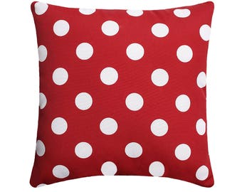 Red and White Pillow, Christmas Pillow, Polka Dot Throw Pillow, Red Outdoor Cushion, Red Accent Pillow, Outdoor Cushion, Red Throw Pillow