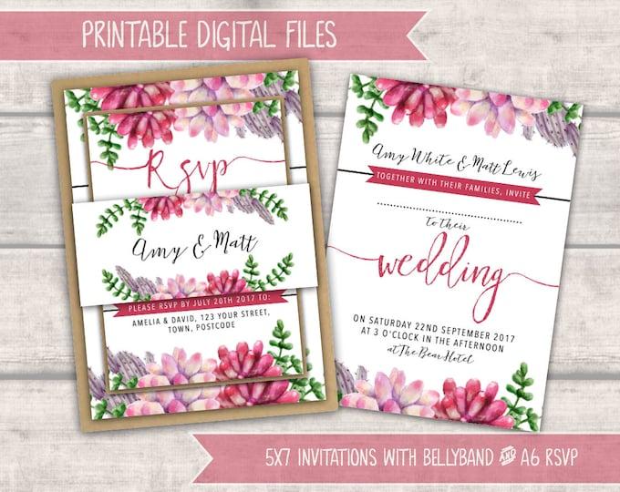 PRINTABLE Wedding Invitation Bundle - Pink Succulents - Personalised Digital Files - Rustic Wedding - Calligraphy Lettering - DIY Wedding