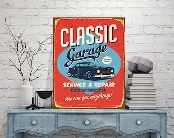 Classic garage, Service and repair, Sign for garage, Decor for the garage, Garage decor, Garage art decor, Metal wall art, Custom sign art