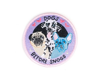 Dogs Before Snogs - Iron on Embroidered Patch