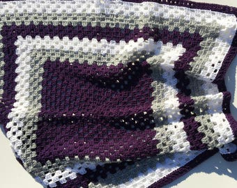 Crocheted Purple Afghan Blanket