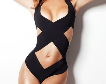 Bandage swimsuit/ bathing suit  as seen in GQ, one piece, bandage swimwear, Criss cross Top selling bathing suit