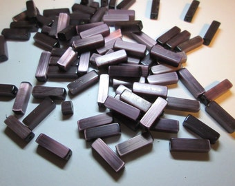 30 Vintage Silky Plum Rectangle Glass beads