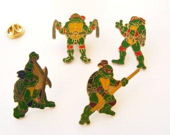 Vintage Teenage Mutant Ninja Turtle pin, enamel pin Michelangelo, Leonardo, Raphael