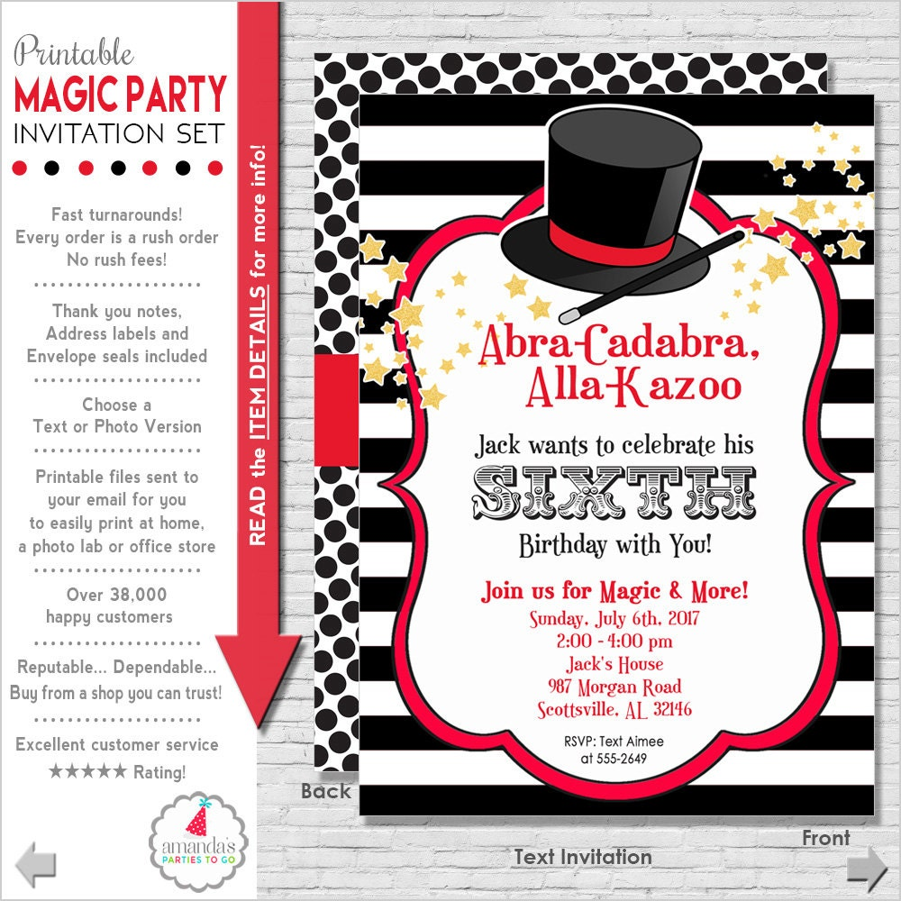 Magic Party Invitation Magic Birthday Invitation Magic
