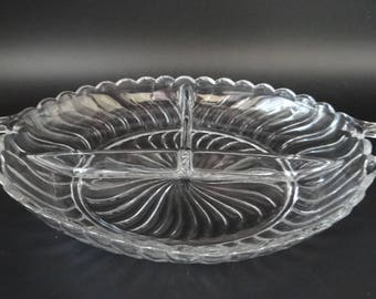 Vintage Fostoria Colony Clear Glass Three Section Divided Dish - Fostoria Mid Century Glass Serving Dish