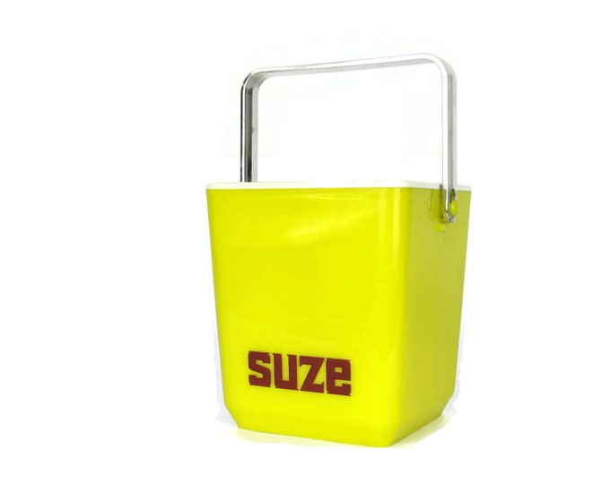 Suze Advertising Ice Bucket. Vintage French Barware. Yellow Plastic Bar Decor. Gifts For Him.