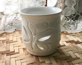 Gloss White Porcelain Carved Candle Holder