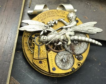 Cupid Dragonfly Steampunk Pocket Watch necklace Handcrafted artistic Steampunk jewelry -The Victorian Magpie