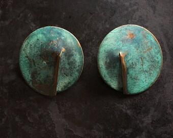Large disk stud earrings in copper verdigris. Beautiful, weathered, wonderful color.