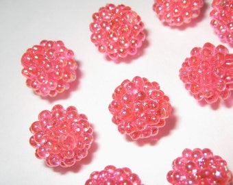9mm - Shiny rose pink berry beads - 30 pcs (berry-C)