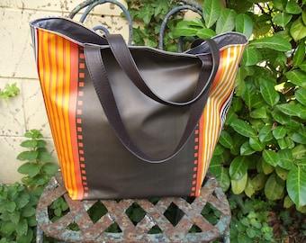 large orange and Brown tote bag unique