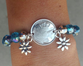 Silver Bouillon Coin & Swarovski Crystal Beads with Sterling Silver Flower Charms Stretch Bracelet