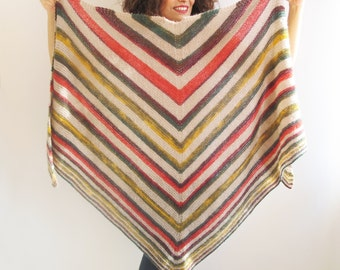 Earth Tones Color Mohair Triangle Shawl by Afra