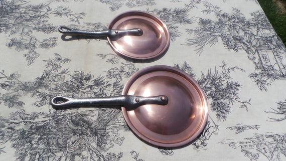 Antique French Copper Pair Fitted Lids 12 cm, 14 cm Fitted Two Fitted Splash Lids Copper Rivets Cast Iron Handles Exceptional 6428